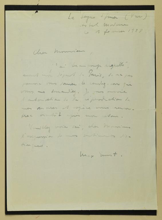 Max Ernst Signed Letter, 1929