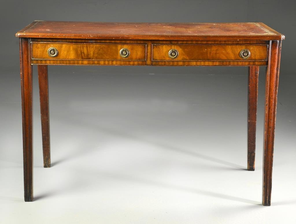 Antique English Chippendale Two Drawer Writing Desk