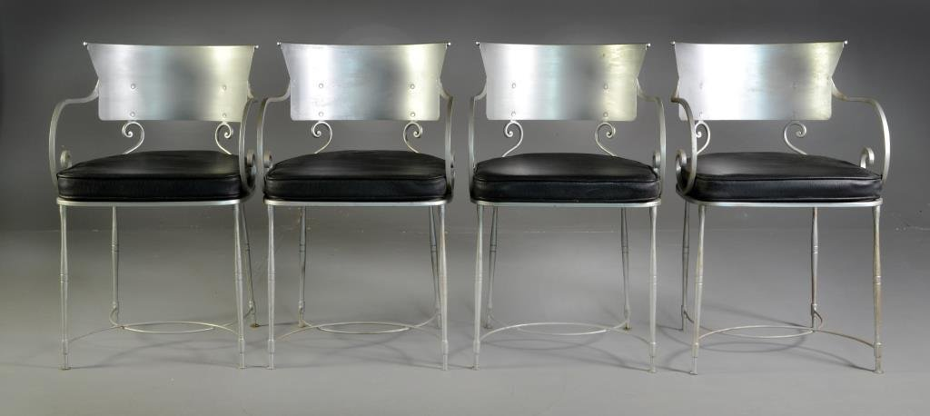 (4) Italian Leather and Metal Chairs