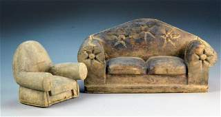 2 Folk Art Couch and Chair Carvings