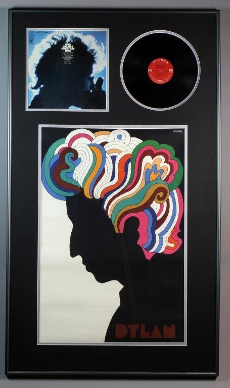 Framed Bob Dylan Album & Milton Glaser Poster