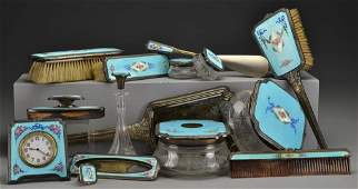 13 Pc Sterling Guilloch and Enamel Dresser Set
