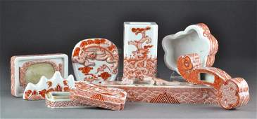 Chinese Red  White Porcelain Scholar Set