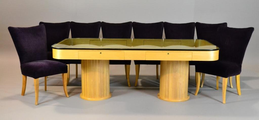 (9) Piece Leo Buffa Dining Table and Chairs