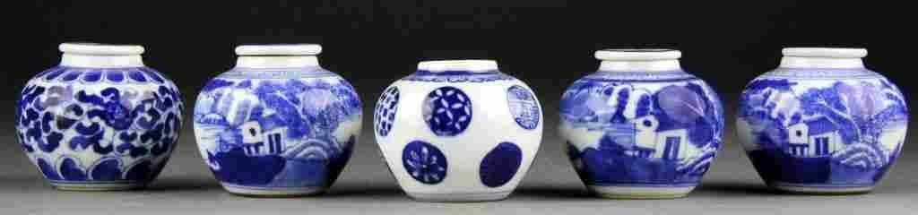 (5) Chinese Blue & White Porcelain Covered Jarlets