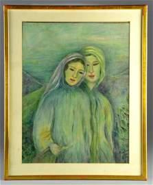 Leonard Tsuguharu Foujita Oil Painting on Canvas