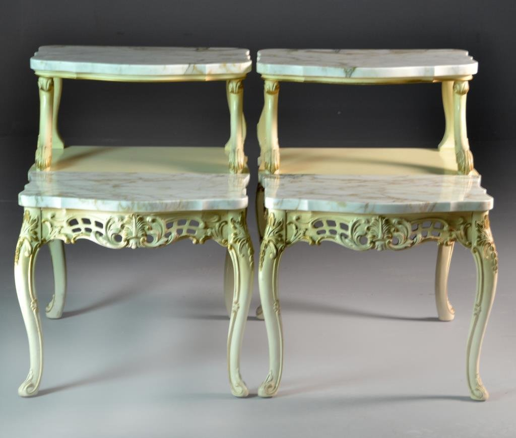 Pr. French Provincial Style Marble & Gilt Wood End