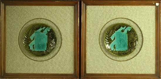 (2) Villeroy and Boch Framed Majolica Commemortive