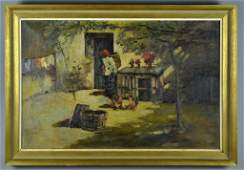A Spanish School Signed Oil Painting on Canvas