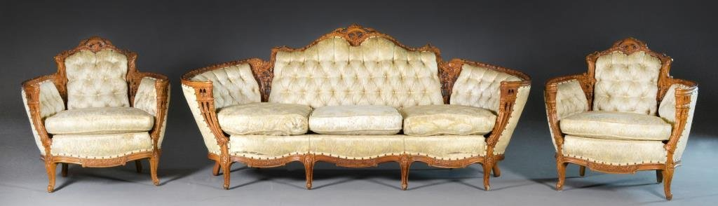 (3) Pieces Deutsch Bros. Carved Walnut Furniture