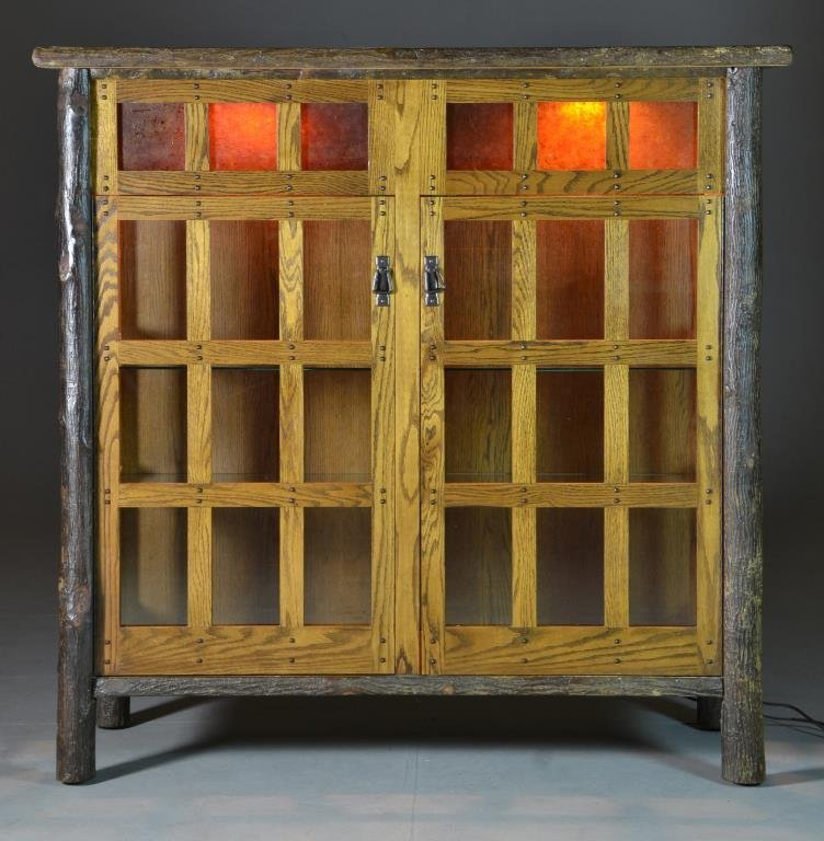 A Hickory or Oak Mission Style Cabinet