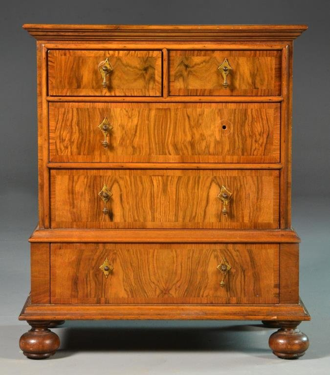 Small Scale Walnut Chest of Five Drawers