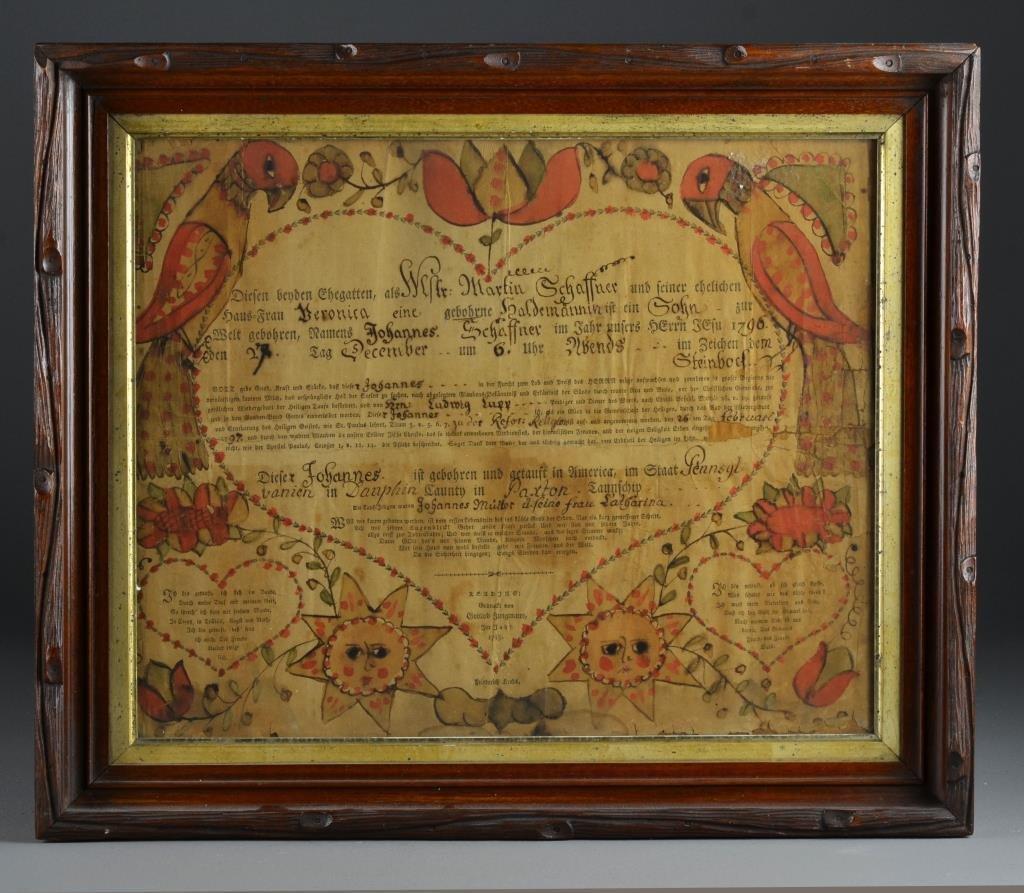 American Fraktur Dated 1796