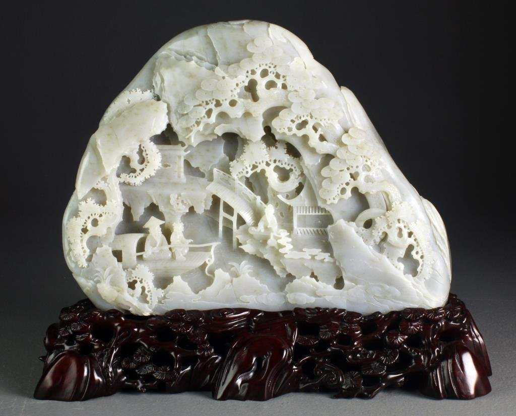 Exceptionally Carved Chinese White Jade Boulder
