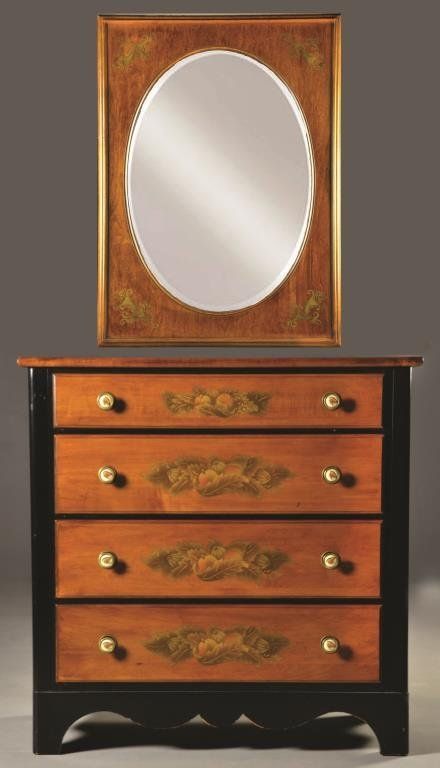 (2) Pc. Hitchcock Chest of Drawers & Matching Mirror