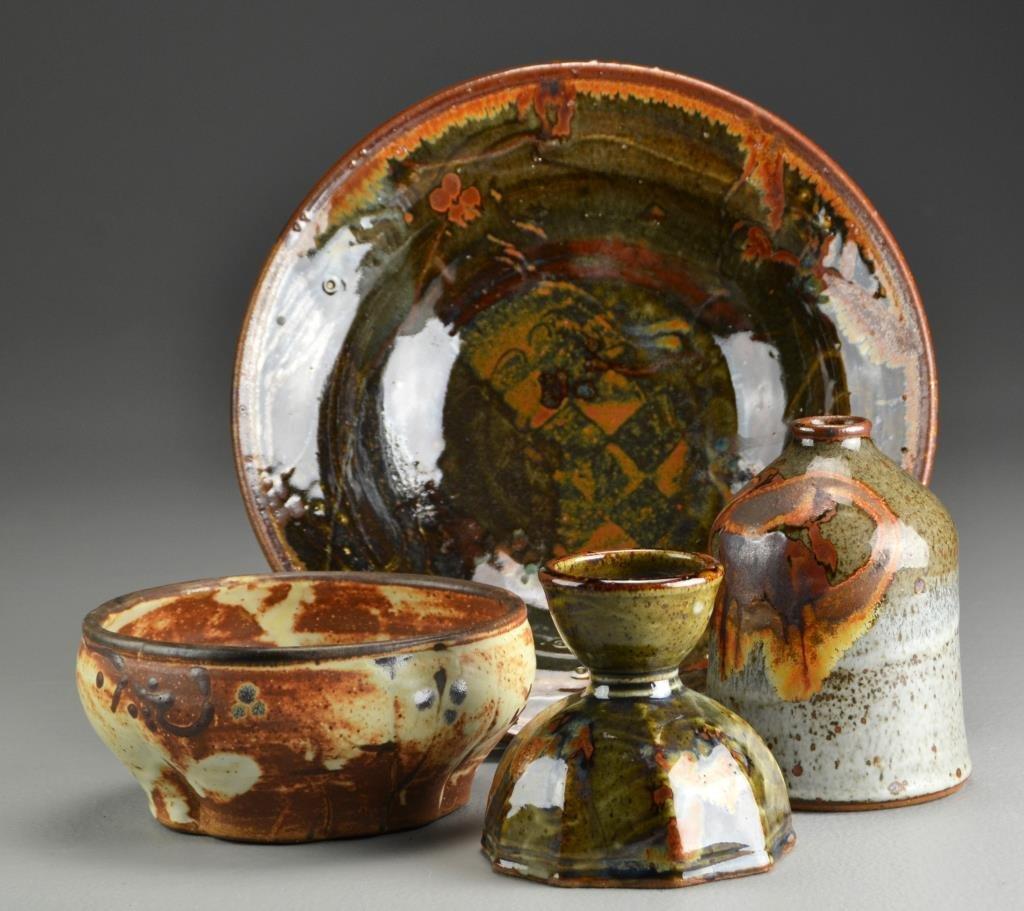 (4) Pcs John Glick, Plum Tree Pottery