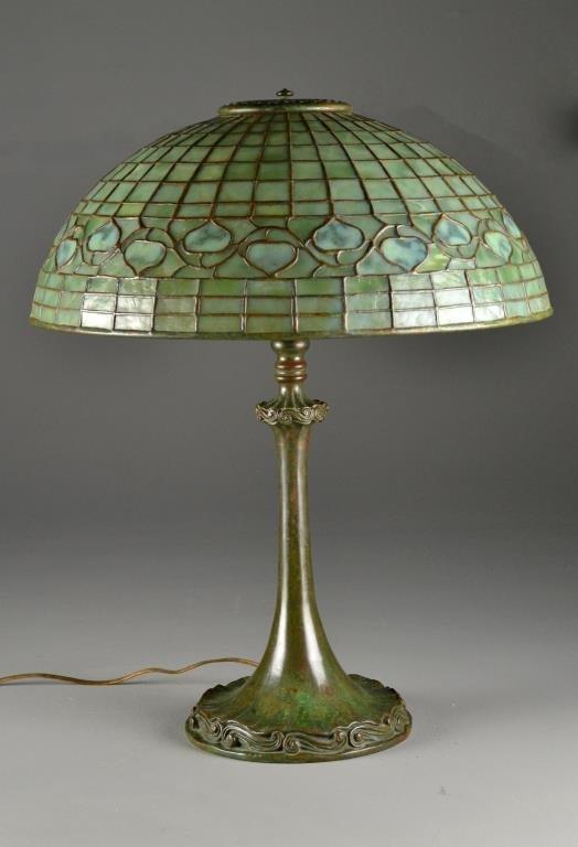 A Tiffany Studios Acorn Lamp With Original Base