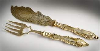 (2) Pcs William Gale & Son Coin Silver Fish Set