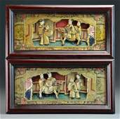 Pr. Chinese Polychrome Painted Carved Wood Plaques