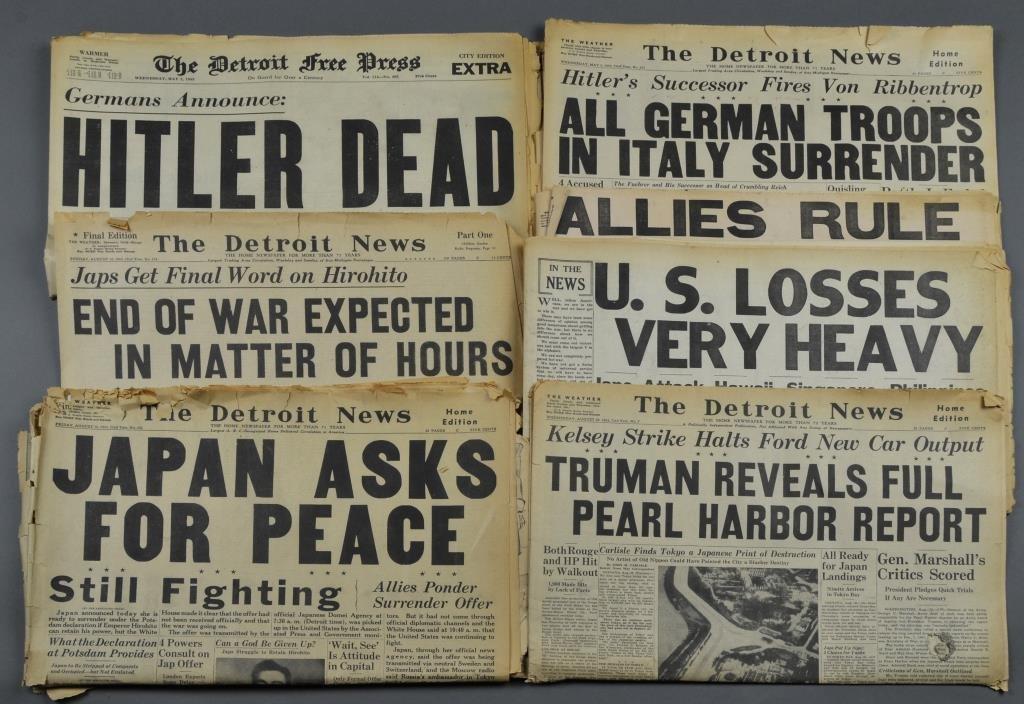 (7) WW2 Detroit Newspapers: Hitler Dead,Pearl Harbor