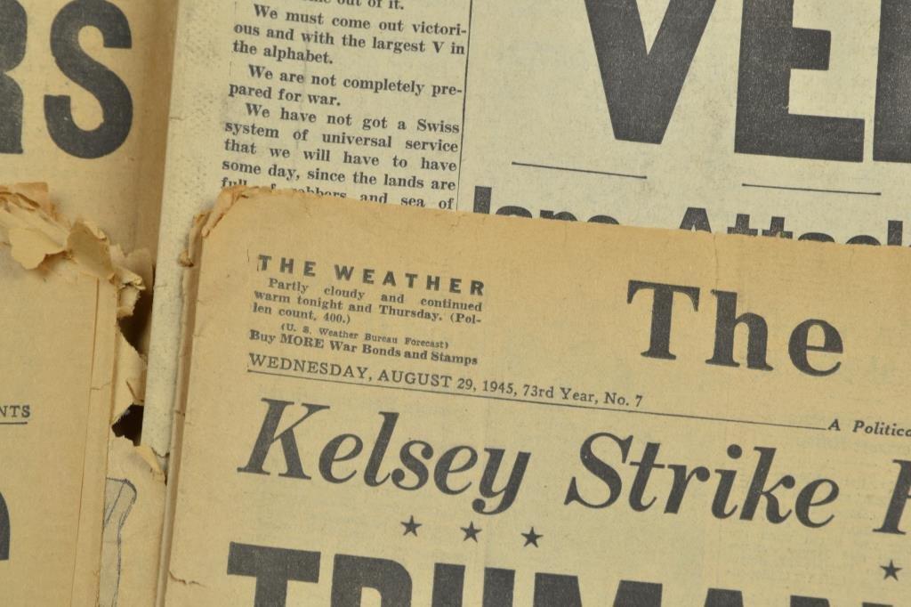 (7) WW2 Detroit Newspapers: Hitler Dead,Pearl Harbor - 3
