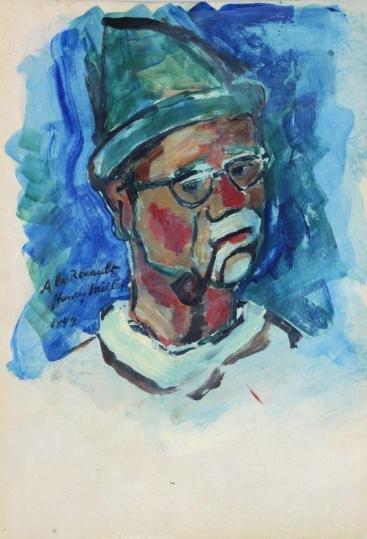 1949 Novelist Henry Miller Self Portrait Signed