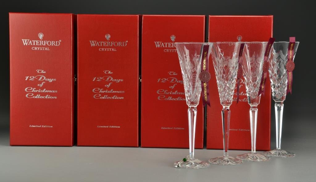 (4) Waterford Crystal Christmas Champagne Flutes