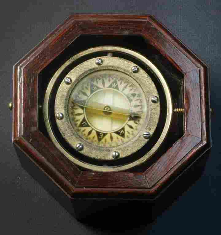 Rosewood, Brass & Glass Ship's Compass