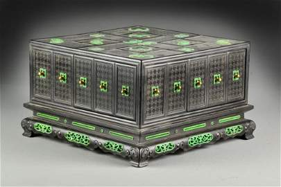 A Fine Chinese Ivory Inlaid Zitan Snuff Box