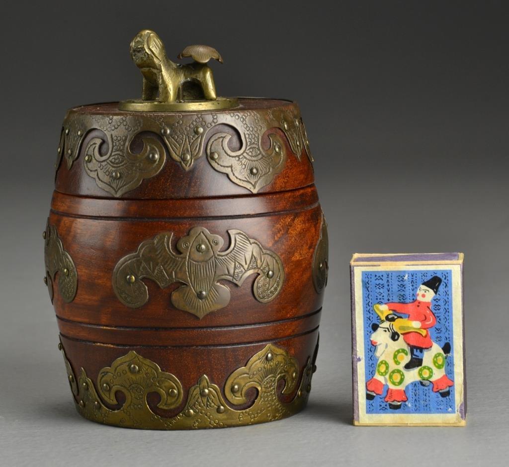 A Chinese Wood & Brass Tobacco Jar