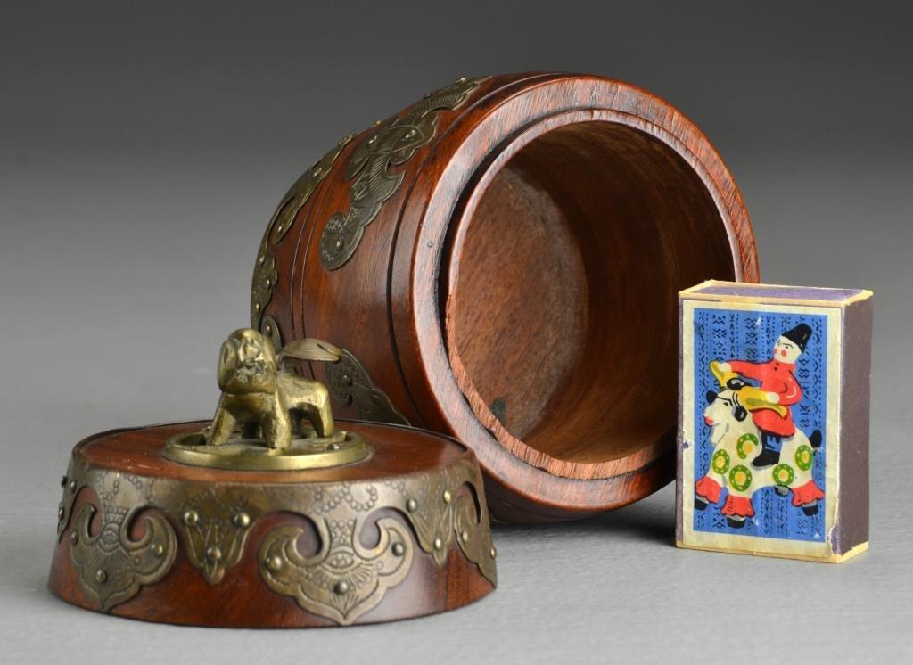 A Chinese Wood & Brass Tobacco Jar - 2