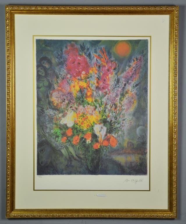 "Marc Chagall ""Blue Bouquet"" Lithograph"