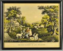 An Original Currier  Ives Hand Colored Lithograph