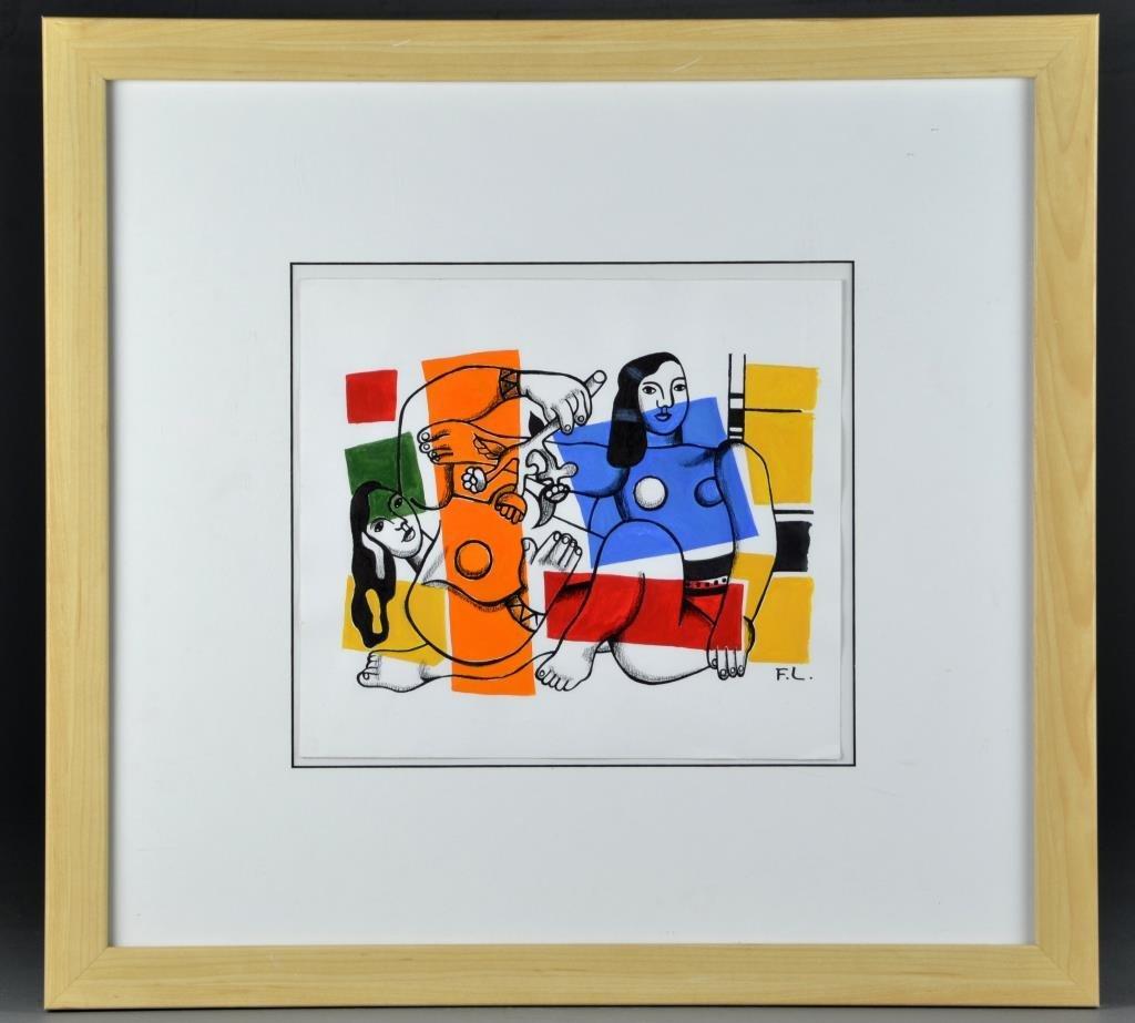 Manner of Fernand Leger Gouache & Charcoal on Paper