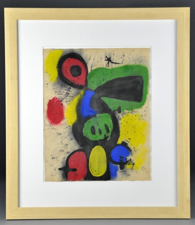 Manner of Joan Miro Conte Crayon on Heavy Paper