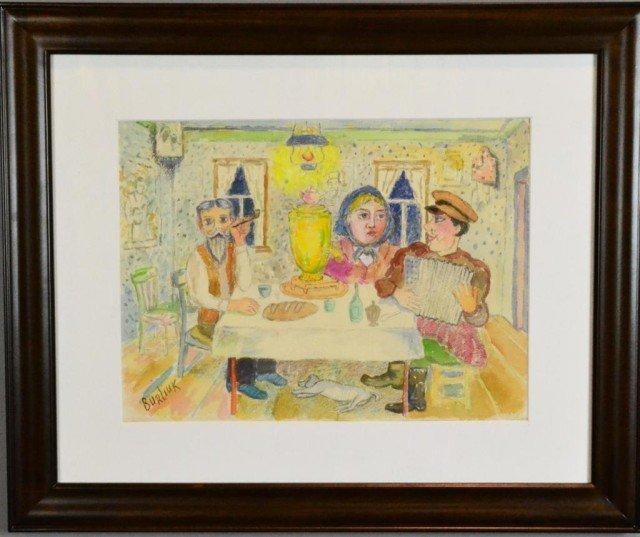 "David Davidovich Burliuk ""Attributed"" Watercolor on"