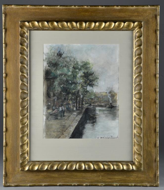 Johan Weissenbruch Watercolor Painting on Paper