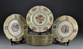 12 Bavarian Floral  Gilt Decorated Dinner Plates