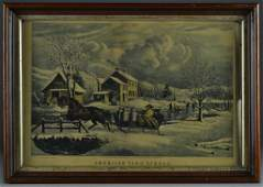 An Ackermann Currier  Ives Lithograph Print
