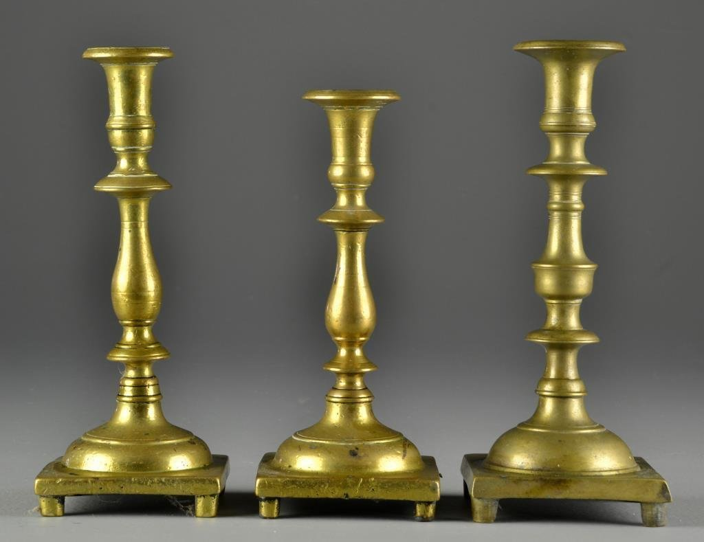 (3) 18th C. American or Continental Candlesticks