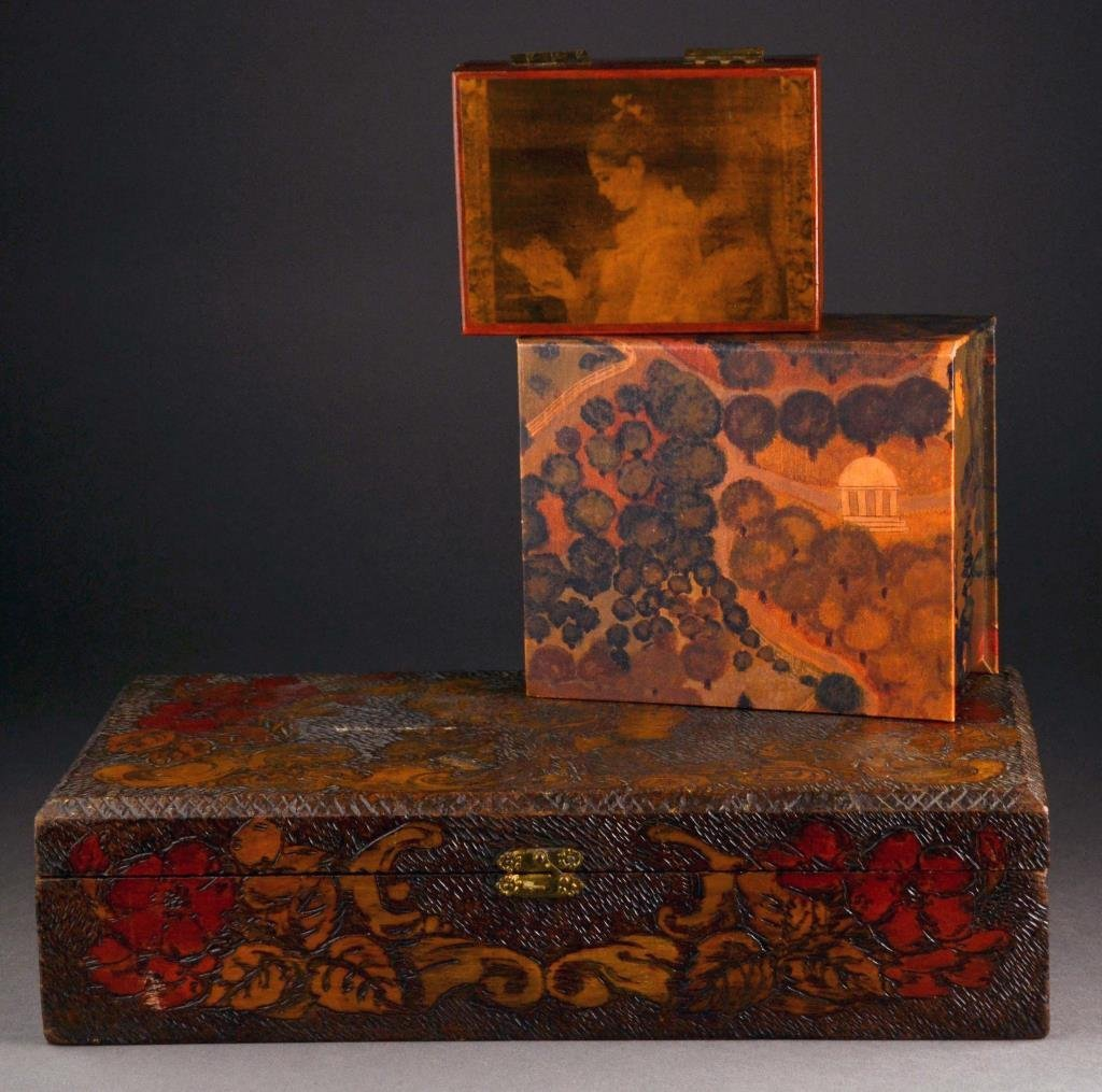 (3) Decorative Covered Boxes