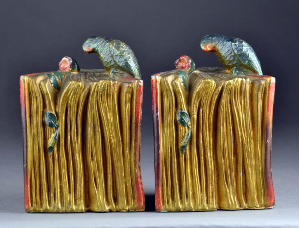 Pair of Art Deco Style Parrot  Cast Metal Bookends