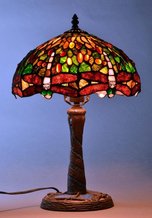 Tiffany Style Stained Glass Dragonfly Lamp
