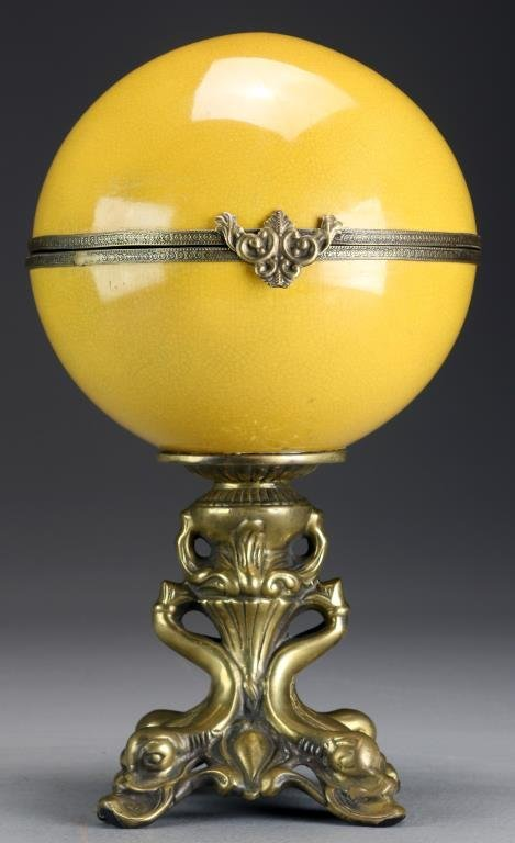 A Gilt Brass and Porcelain Pedestal Box