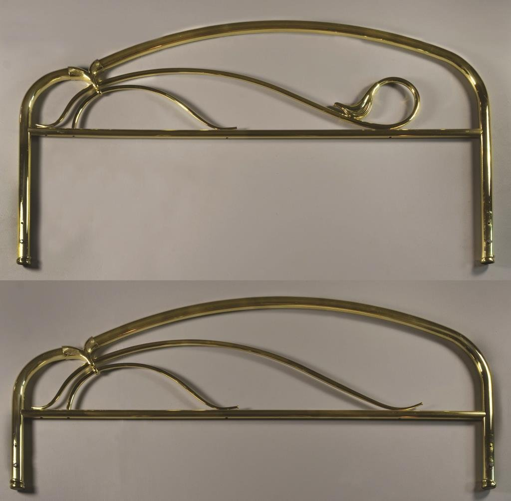 (2) Contemporary Brass Headboard & Footboard
