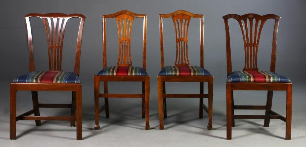 (4) Mahogany Chippendale Style Side Chairs