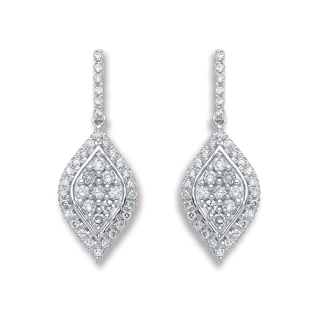 18K White Gold 0.5CT Diamond Drop Earrings