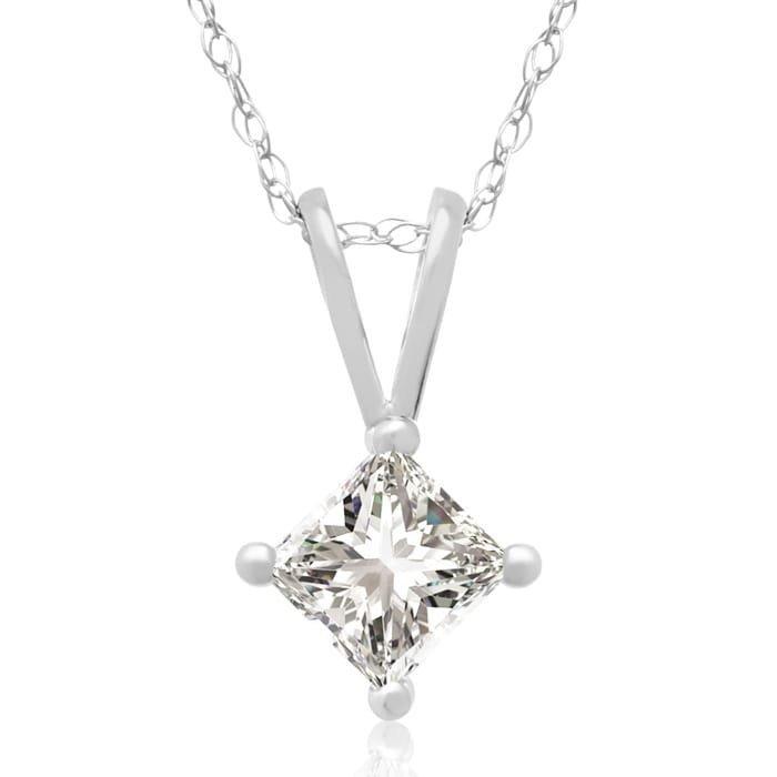 3/8CT Diamond Pendant With 14K White Gold Chain