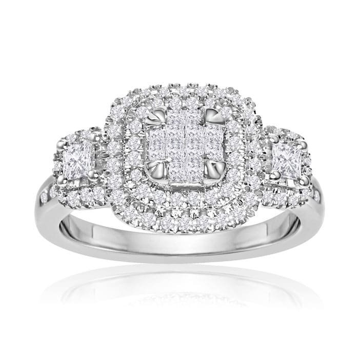 3/4CT Princess and Round Double Halo Ring in 14K White