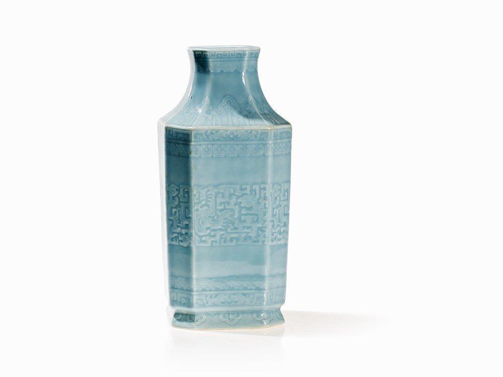 Clair de Lune Glazed Vase with Encircling Archaic